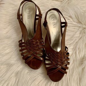 Guess Size 9.5  Brown Woven Cork Wedge Sandal Wome